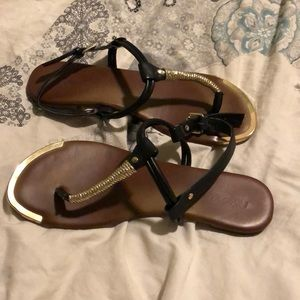 Mossimo Supply Co. Shoes - Mossimo black and gold sandals